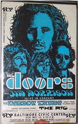 Vintage 1970 Jim Morrison and The Doors 1970 Baltimore Civic Center Concert Poster