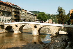 Sarajevo bridge where Franz Ferdinand was killed, 1914.