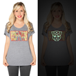 Transforming fashion for our new Her Universe Transformers line, this dolman looks like a simple classic retro shirt in the light but it in the dark the Autobot icon glows proudly!