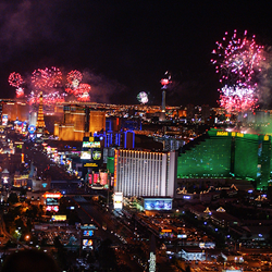 Fireworks on the Las Vegas Strip for 4th of July