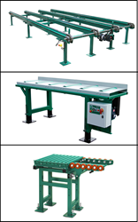 Wood-Mizer Green Chain, Roll Case Conveyor and Cross Roller Table for industrial sawmill operations.