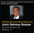 Amin Rahman Ramjee Awarded as Ernst & Young Entreprenuer of the Year for Florida Distribution and Manufacturing