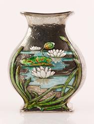 Rare Gorham Enameled Sterling Vase