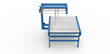 Bump-turn conveyor rotates bundles while moving product for cross strapping