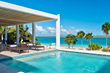 A photograph of the beachfront swimming pool at Blue Orchid Villa, Leeward Beach, Providenciales (Provo), Turks and Caicos Islands