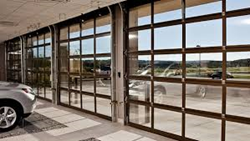 Full view garage door, commercial garage door, modern door, all glass garage door
