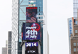 A patriotic tribute to the 4th of July lights up New York's Times Square, as a giant digitally-animated fireworks spectacular is featured on the Toshiba Vision and TDK Screens atop One Times Square, t