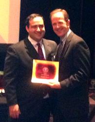 Ricardo Barrera receiving the Texas Tech University School of Law GOLD Award