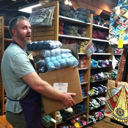 Travis stocking yarn at the shop