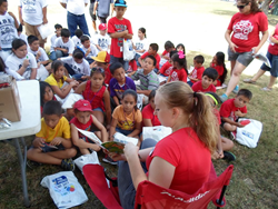 "Harlingen Family Dentistry staff read to youth at ""A Day in the Park"""