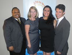 Honoree Pam Stewart (second from left) with Florida Department of Education Macy's Teachers of the Year (from left to right) Alvin Davis (2012), Dorina Sackman (2014), & Alexandre Lopes (2013)
