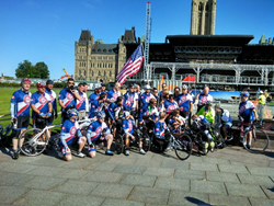 The CanAm Veterans' Challenge team at the beginning of their ride.