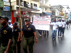 Narconon Liberia members march on UN Day