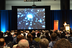 Eight well-attended plenary talks were among highlights of this year's event; above, Satoshi Miyazaki of the National Astronomical Observatory of Japan