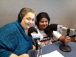 "Karen Crouch (left) and daughter Lillianna Flores in the KLUP Radio studios taping ""Women and the Law."""