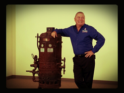 san diego plumber with one of the first water heaters invented by edwin ruud