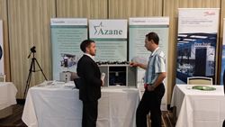 Derek Hamilton demonstrating the Azanefreezer and Azanechiller at ATMOsphere America 2014 in San Francisco