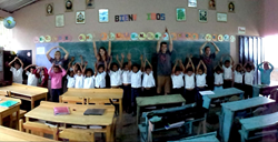 Ohio State University students teach O-H-I-O pride to elementary school students in El Socorro de la Penita, Honduras
