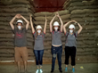 Ohio State University students show their O-H-I-O pride at a coffee dry processing mill in Honduras