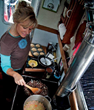 LaDonna Gundersen's tiny galley and oven
