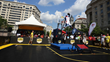 Washington Wizards Mascot G-Man dunks during an NBA Nation Tour event held on SnapSports BounceBack ShockTower Surface.