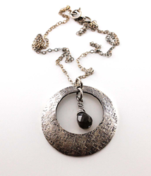 Sterling Silver Washer Necklace with Smoky Quartz as seen on The Vampire Diaries