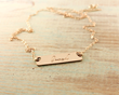 Hand Stamped, Loved Gold Bar Necklace from Woobie Beans