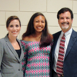 Joye Law Firm Attorneys Sydney Lynn and John Roxon with Scholarship Winner Meghan Bellamy