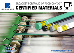 All of Quadrant's food grade materials, along with the new European Union (EU) Regulations EC 1935/2004 and EU 10/2011, are FDA compliant.