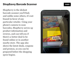 "ShopSavvy, the world's largest mobile shopping platform, secured a spot in Time Magazine's list of ""50 Best Android Apps for 2014"""