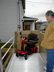 A wheelchair lift recently installed by 101 Mobility Boston