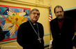 Cardinal Sepe and the Artist Guillermo Esparza at Esparza sacred art exhibit at Saint  Patricks Old Cathedral photo credit Laura Razzano