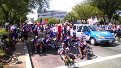 Riders wait to begin the Independence Day Parade in Washington, D.C.