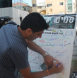Tel Aviv Scientologists collect signatures on drug-free pledges.