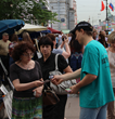 In St. Petersberg, Russia, volunteers distribute drug education booklets.