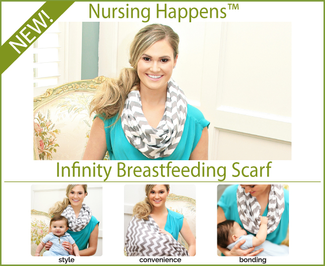Charcoal Haze Chevron Itzy Ritzy Nursing Happens Infinity Breastfeeding Scarf