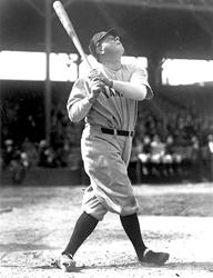 Babe Ruth his a Home Run