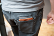Samsung S5 Finn Wallet—lifestyle shot; back pocket; cowboy brown leather