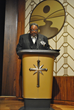 "Bishop Franklin J. Harris, Sr., pastor of Laurel St. Missionary Baptist Church Victory in Christ Ministries, at ""Stepping Stone Awards Banquet"" at the Church of Scientology Community Center."