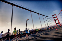 Runners on the Golden Gate Bridge