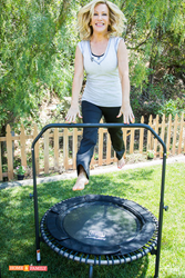 Kym Douglas on Home and Family Show bouncing on a JumpSport Fitness Trampoline.