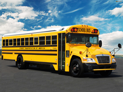 "435 Blue Bird Propane Vision buses, equipped with ROUSH CleanTech's propane autogas fuel systems support Omaha's ""Green Schools Initiative."""