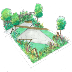 Artist's drawing of the 'Elemental' garden designed by Ian Price