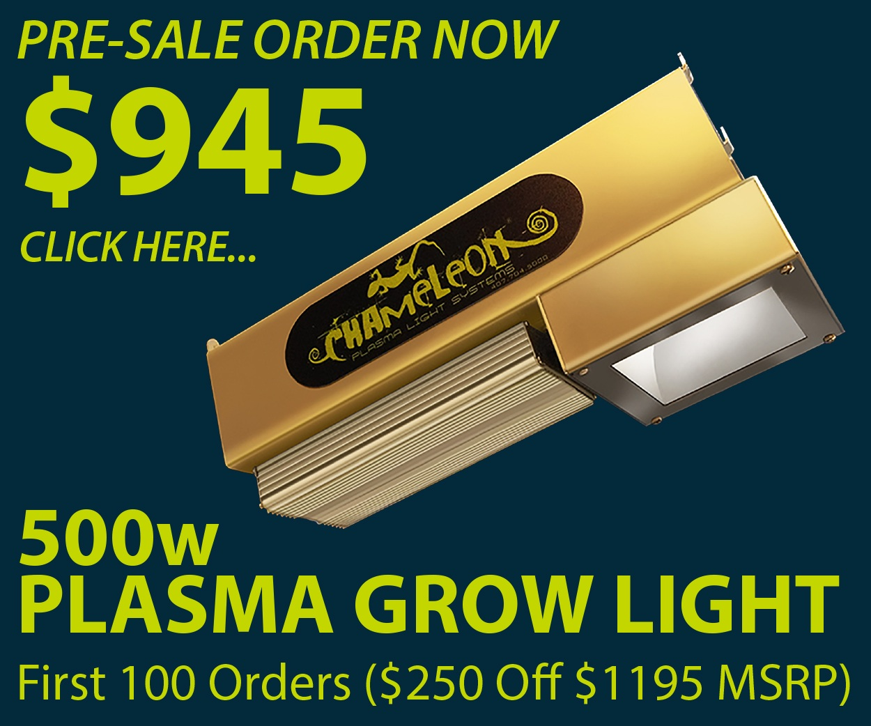 Chameleon Grow Systems Announces Release Of 500w Plasma
