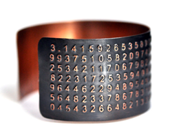 314 Digits of Pi Handcrafted, Etched Copper Cuff from Karla Wheeler Design Primetime Emmys