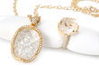 Carved Rock Crystal Necklace and Statement Ring by Jessica Surloff