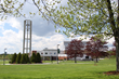 Husson University's campus in Bangor, Maine on a beautiful spring day.