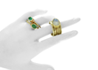 10K gold Stacking Rings, Moonstone, Emerald