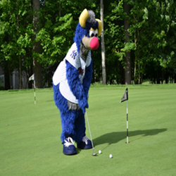Scranton/Wilkes Barre RailRiders Mascot tees off at the Country Club at Woodloch Springs Tournament last year