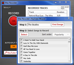A Screen Shot of Max Recorder in use